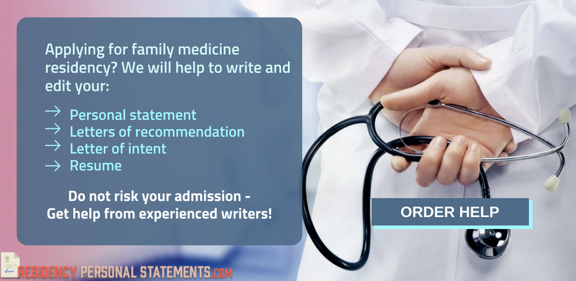help with family medicine residency personal statements