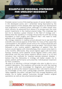 example of personal statement for urology residency