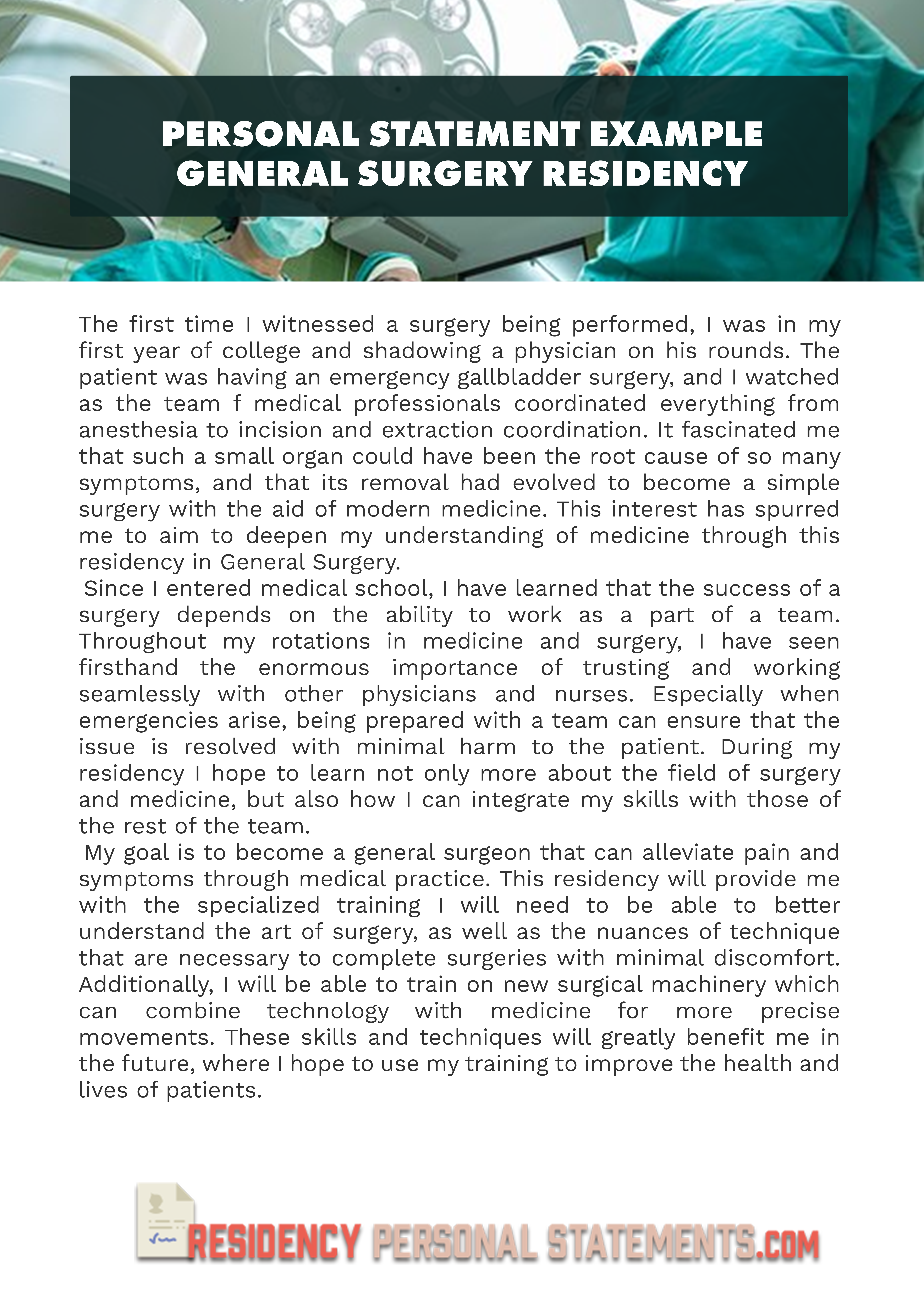 best general surgery personal statement  how to make it shine