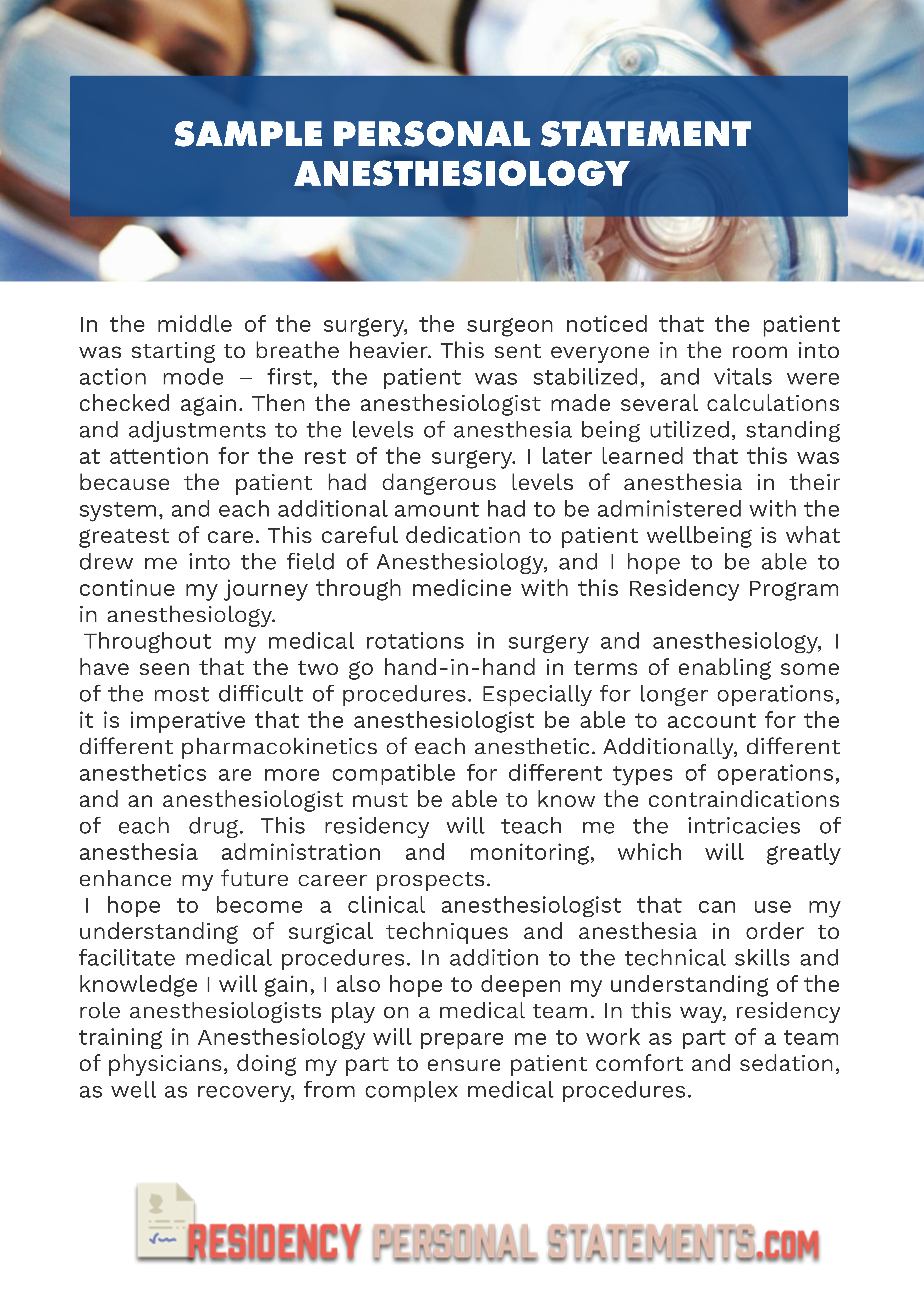 why write a personal statement residency anesthesiology